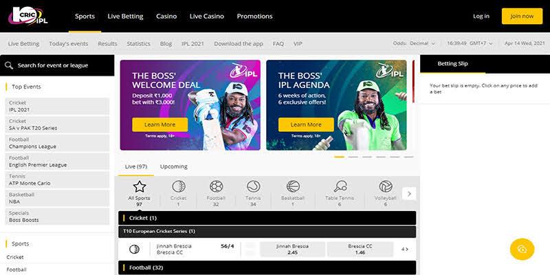 10Cric Homepage Screenshot