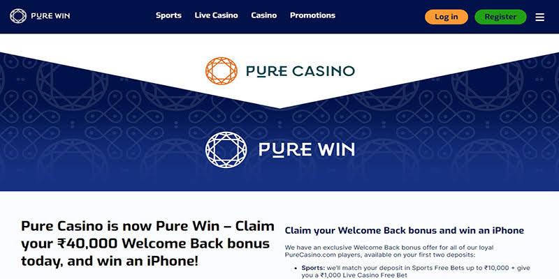 Pure Casino Homepage Screenshot