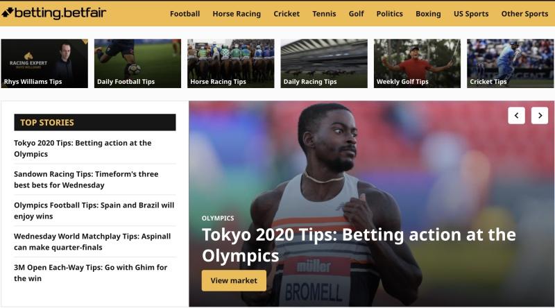 Betfair India homepage